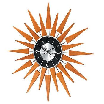 George Nelson Wooden Sunburst Clock in Natural Wood, RM2001
