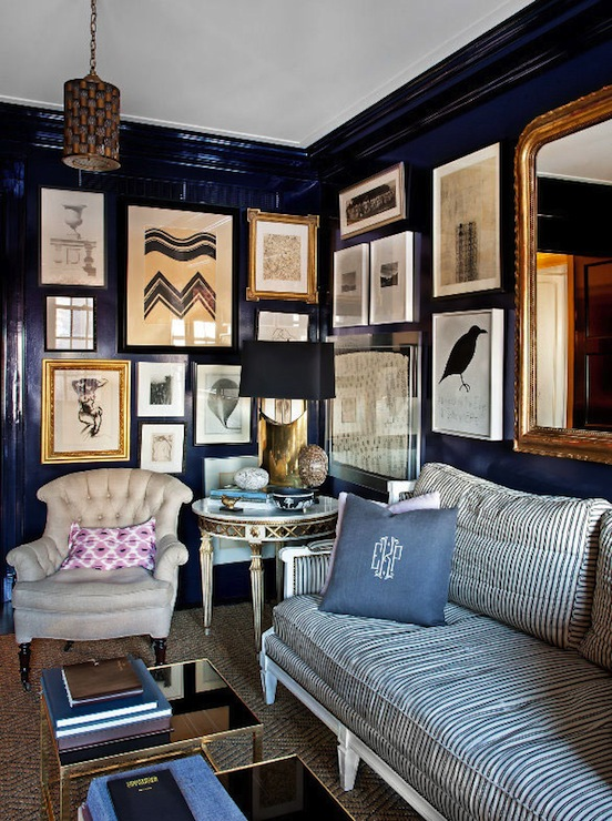 Lacquered walls eclectic den library office anne for Blue wall art for living room