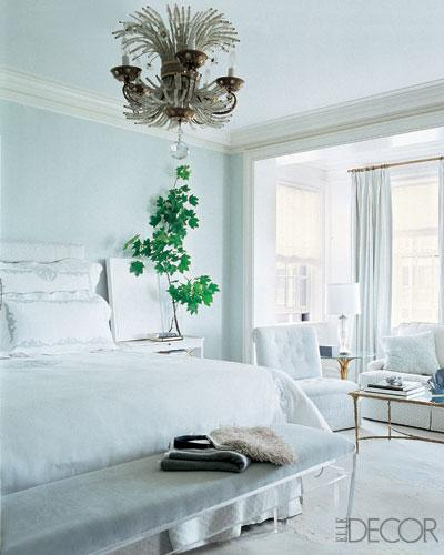 Lucite bench transitional bedroom elle decor for Bedroom ideas elle decor