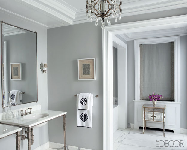 Ellen Rakieten   Gray walls paint color  calcutta marble countertops   mirror  crystal chandelier  polished chrome hardware and monogrammed towels. Gray Towels Design Ideas