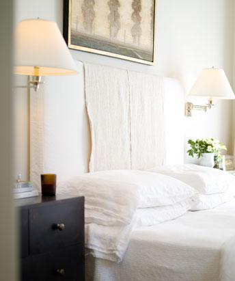 White Slipcover Headboard Transitional Bedroom