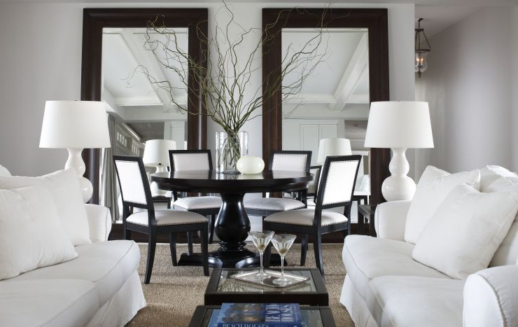 Black and white dining chairs contemporary dining room michael partenio for Black and white living and dining room