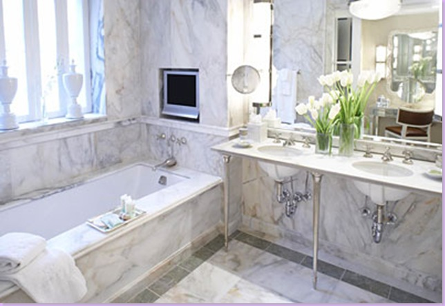 White Marble Bathroom Transitional Bathroom