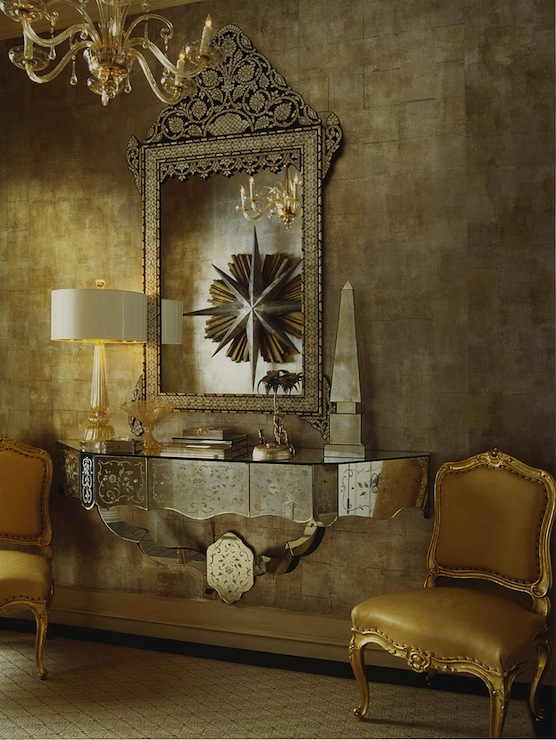 Mirrored Foyer Table - French - entrance/foyer - Jan Showers