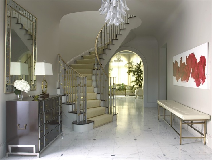 Winding Staircase Transitional Entrance Foyer Jan Showers