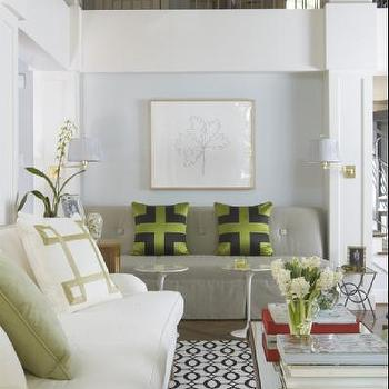 Gray Armless Sofa, Contemporary, living room, Jan Showers