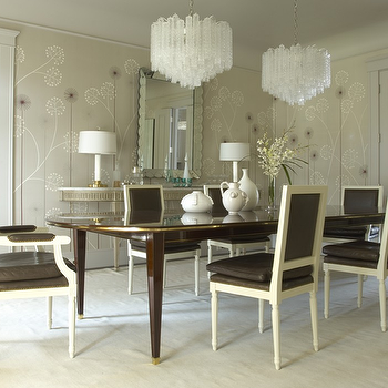 brown Leather Dining Chairs, Transitional, dining room, Jan Showers