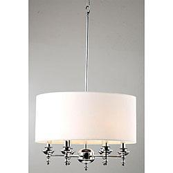 Indoor 6 light classic chrome white shade chandelier overstock mozeypictures Images