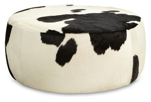 Lind Round Cowhide Ottomans Cocktail Tables Living