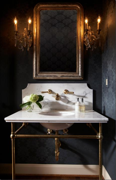Black flocked wallpaper transitional bathroom ashley for Dark bathroom wallpaper