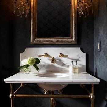 Black Flocked Wallpaper, Transitional, bathroom, Ashley Goforth Design