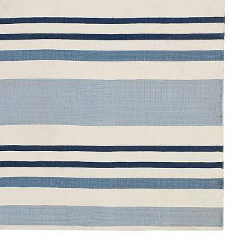 Blue Striped Rug 8 X10 Cotton