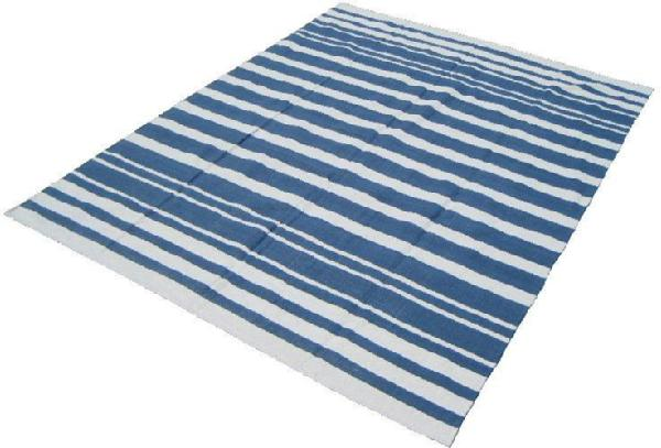 Kilim Blue White Striped Rug