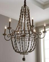 Horchow Twisted Metal Frame Chandelier