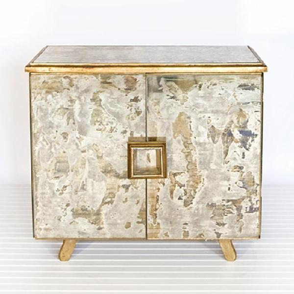 Worlds Away Reverse Antique Mirror Gold Leaf Chest