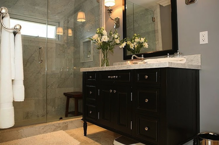 Beautiful With Dark Bathroom Vanity And Mirror Frameless Glass Shower Sconces And Grey Walls