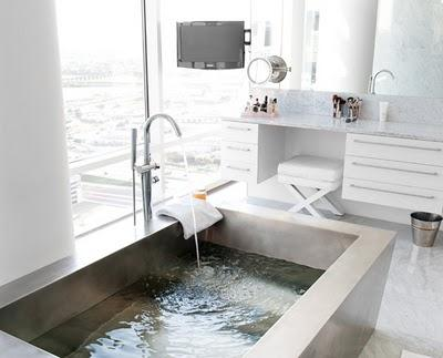 Concrete Bathtub Contemporary Bathroom