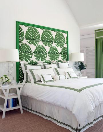 White Green Beachy Bedroom Design With Palm Print Headboard Bedding Nightstand Glass Lamps Sisal Rug Cornice