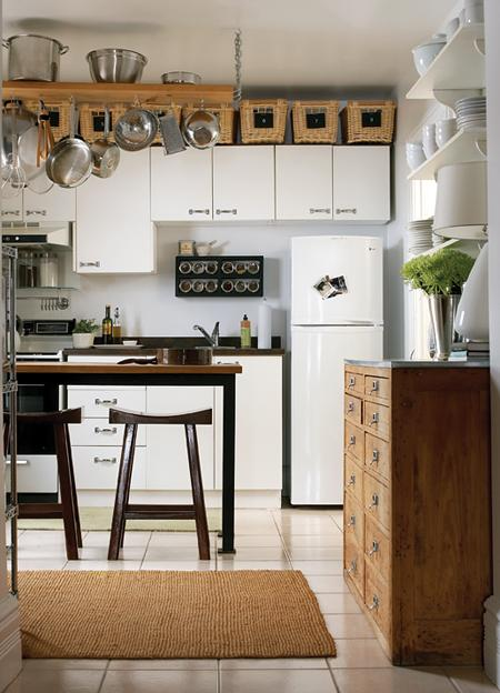 White frameless cabinets design ideas - Space saving movable kitchen island get efficient kitchen traffic ...