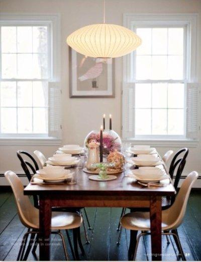 Rustic Modern Dining Room Farmhouse Dining Table, Brentwood Plastic Dining  Chairs, Nelson, Pendant, Pink Walls Paint Color