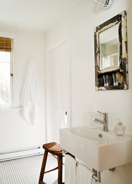 Distressed Mirror Cottage Bathroom Jennifer Worts Design