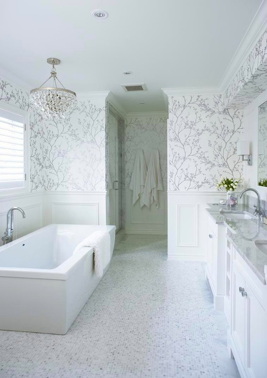 White and silver wallpaper transitional bathroom for Blue and silver bathroom accessories