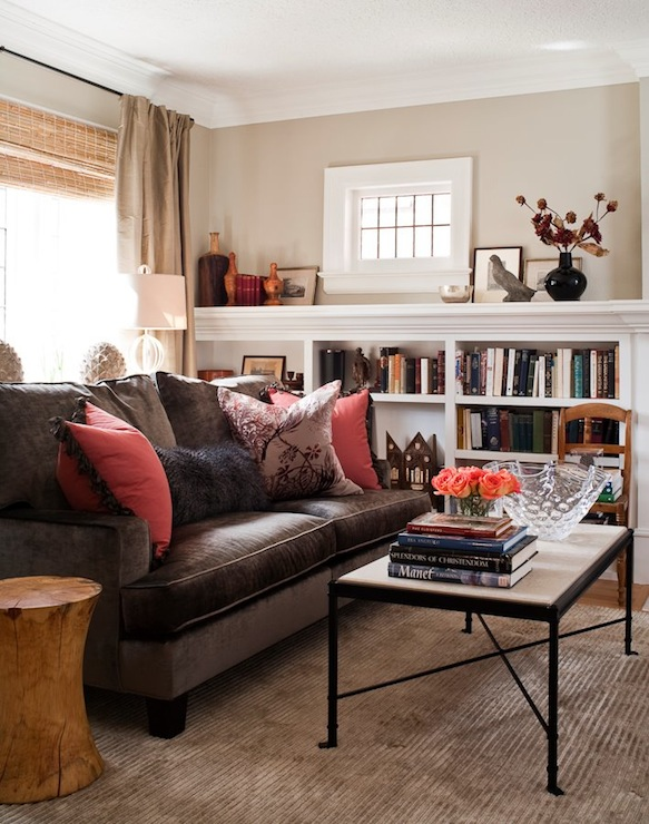 Transitional Living Room Design With Chocolate Brown Velvet Sofa