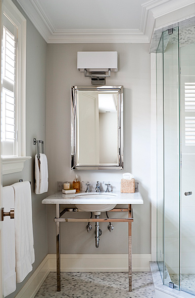 Polished chrome washstand transitional bathroom jennifer worts design Polished chrome bathroom mirrors
