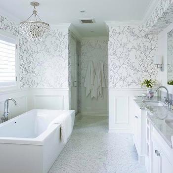 White and Silver Wallpaper, Transitional, bathroom, Jennifer Worts Design