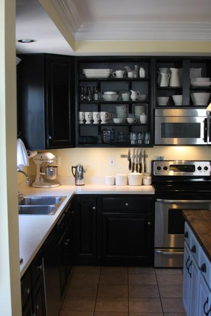 Black kitchen cabinets transitional kitchen behr for Charcoal painted kitchen cabinets