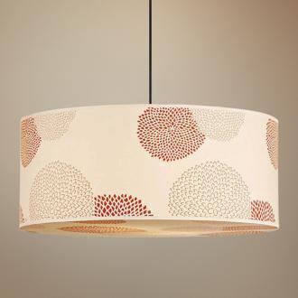 Lights Up! Meridian Red Mumm Jumbo Silk Pendant Light, LampsPlus.com