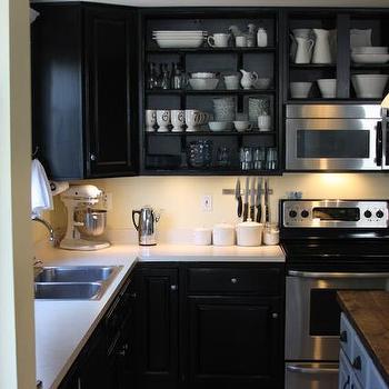 Black Kitchen Cabinets, Transitional, kitchen, Behr Beluga, Whimages