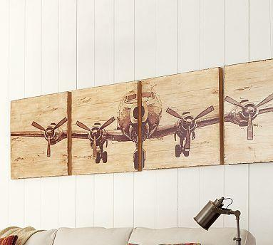 Planked airplane panels set of 4 pottery barn malvernweather Gallery