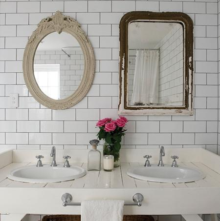 lovely whimsical design with bathroom with double sinks subway tiles backsplash polished chrome faucets and hardware and mismatched vintage mirrors - Bathroom Subway Tile Backsplash