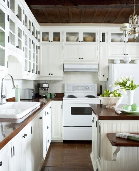 White Kitchen Cabinets With Butcher Block Countertops Traditional