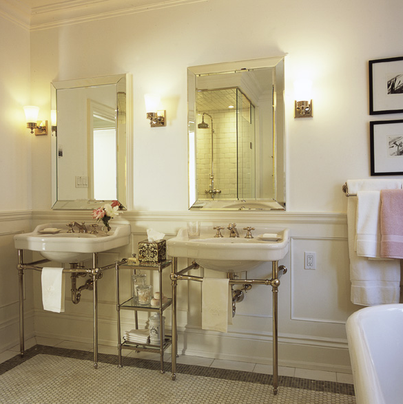 Gentil Chic Bathroom Design With White Porcelain Sinks And Polished Chrome Bases,  Beveled Mirrors, Polished Chrome Faucets U0026 Sconces, Crown Molding, ...