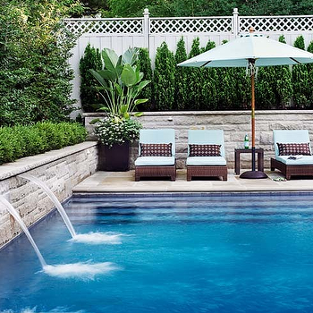Fountain in Pool, Transitional, pool, Donna Griffith Photography