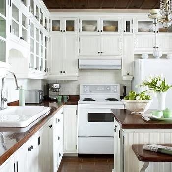white kitchen cabinets with butcher block countertops - Kitchen Design Ideas With White Appliances