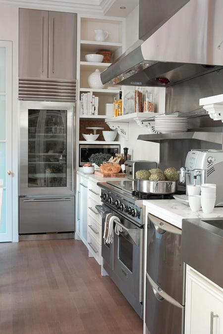 Lynda Reeves   Chic Open Kitchen Design With Stainless Steel Appliances,,  White Kitchen Cabinets, Marble Counter Tops And Built Ins.