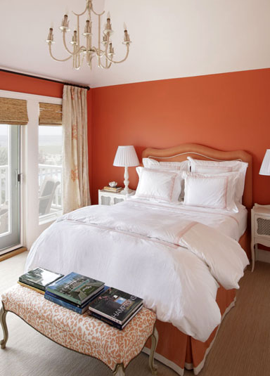 orange bedroom design with orange walls bamboo roman shades pagoda