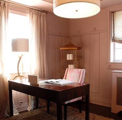 pink home office design idea. View Full Size. Pink \u0026 Gray Chinoiserie Office Design Home Idea