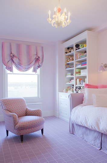 Adorable purple girl's bedroom design with purple daybed, pink pillows,  chandelier, pink & purple valance, built-ins, bookcase cabinet, sconce and  pink ...