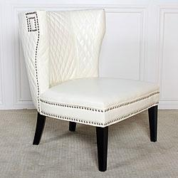 Tessa Ivory Quilted Leather Chair   Overstock.com Link On Pinterest View  Full Size
