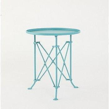 Metal Teal Accordion Base Side Table