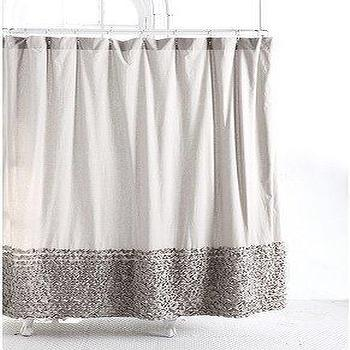 Ticking stripe ruffled shower curtain pottery barn