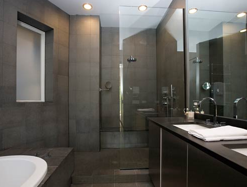 Gray Masculine Modern Bathroom Design With Gray Slate Tile Frameless