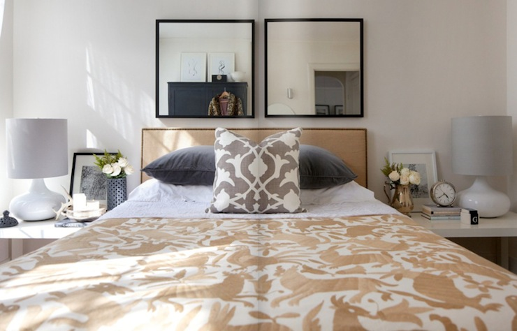 black mirrors white lamp gray velvet pillows mexican otomi bedding glossy white lacquer parsons tables nightstands and gray barbara barry - Barbara Barry Bedding