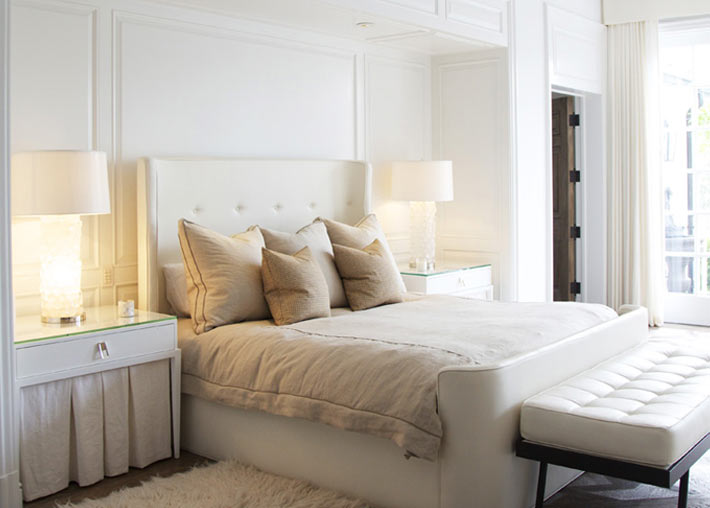 West elm leather headboard contemporary bedroom made for Monochromatic bedroom designs