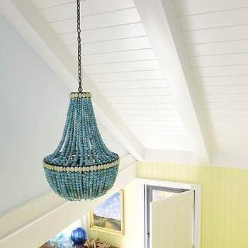 Turquoise Beaded Chandelier, Cottage, entrance/foyer, Benjamin Moore Fresh Cut Grass, Willey Design