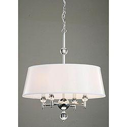 White drum shade crystal chrome chandelier mozeypictures Gallery